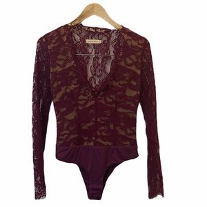 Makers of Dreams maroon lace Bodysuit